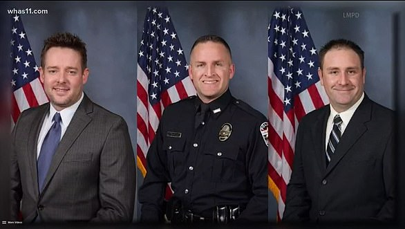 The three officers in the case - Sgt. Jonathan Mattingly and Officers Brett Hankinson and Myles Cosgrove - have not been charged in the shooting and have been placed on administrative leave. From left to right Sgt. Jonathan Mattingly, Det. Brett Hankison, Det. Myles Cosgrove