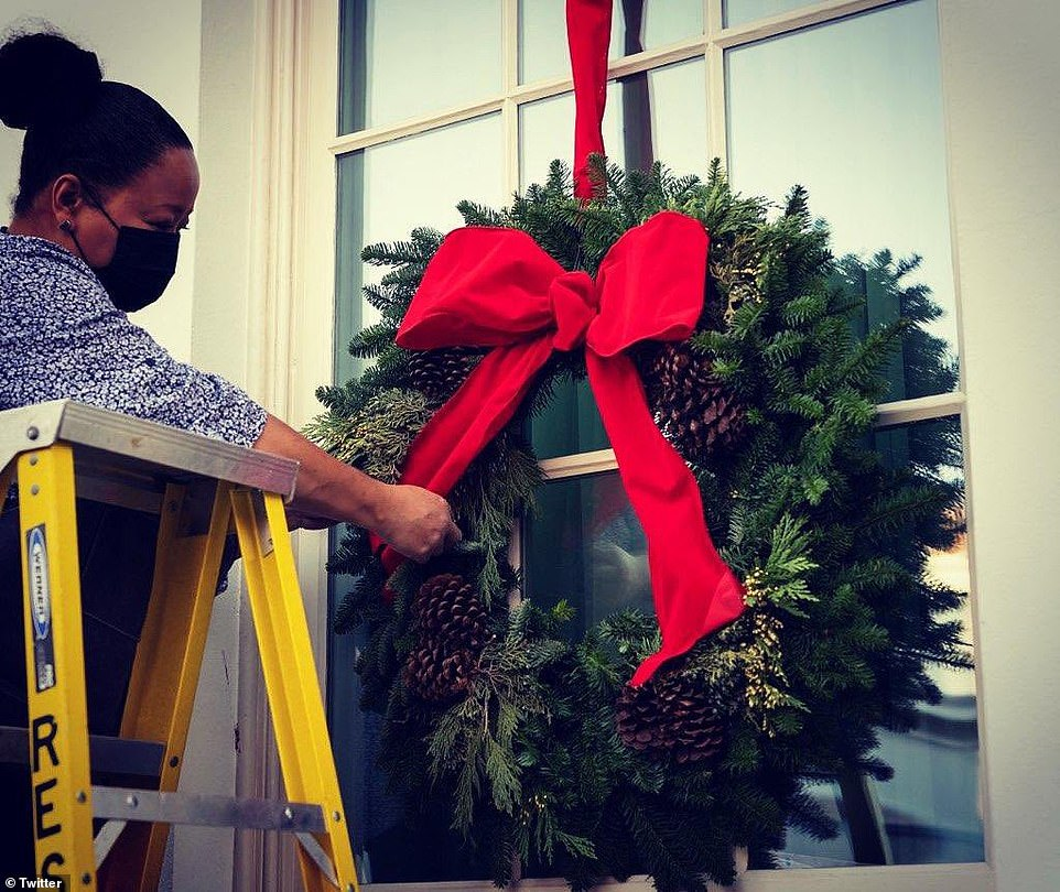 Pictured: a volunteer wearing a face mask fixes the red bow on a Christmas wreath as the White House prepares for Christmas