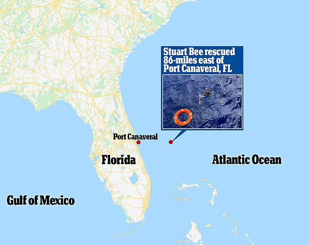 Stuart Bee was rescued 86 miles east of Port Canaveral, Florida
