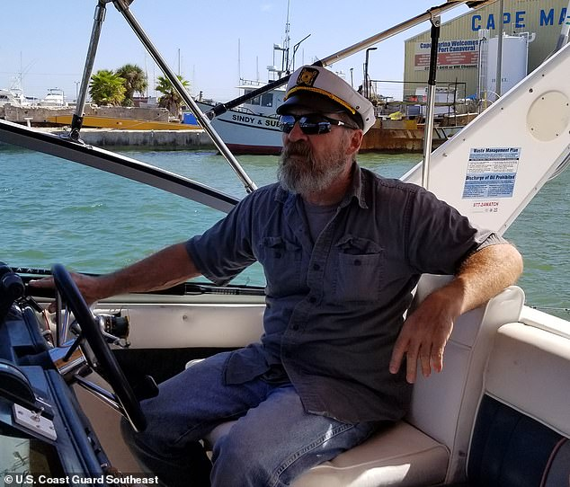 Bee set off in his 32ft boat for the open water off Florida on Friday. Pictured here in better times