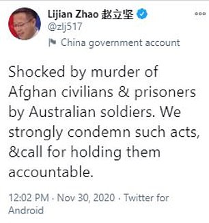 China's foreign ministry spokesman Lijian Zhao posted the fake image with this tweet