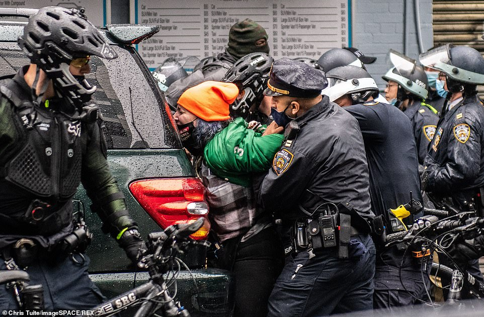 Anti-Trump protester screams 'I hope your children get raped and killed' during clashes with NYPD