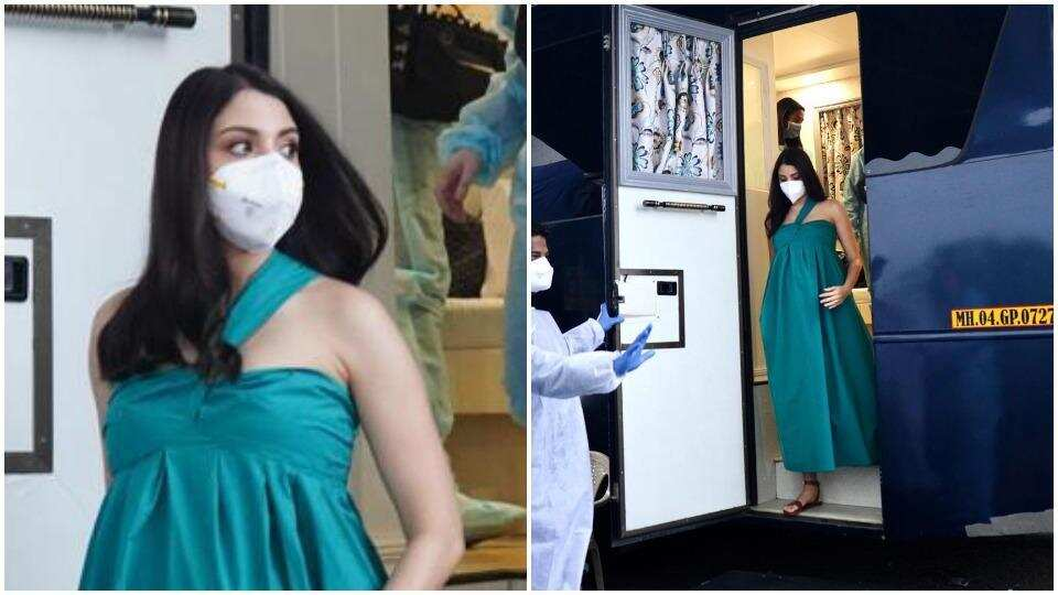 Anushka Sharma is pregnant and glowing as she steps out for an ad shoot in Mumbai. See pics