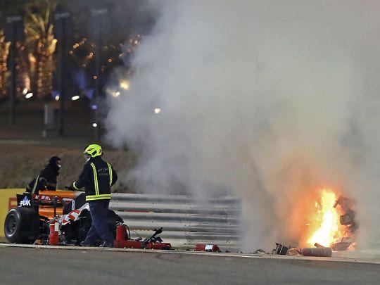 Bahrain Grand Prix: Grosjean survives fireball crash on opening lap