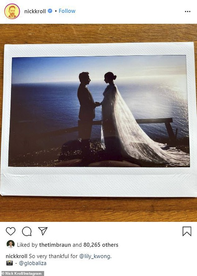 Seaside wedding: Nick Kroll and his artist girlfriend Lil Kwong revealed on Thursday that they had married earlier this month