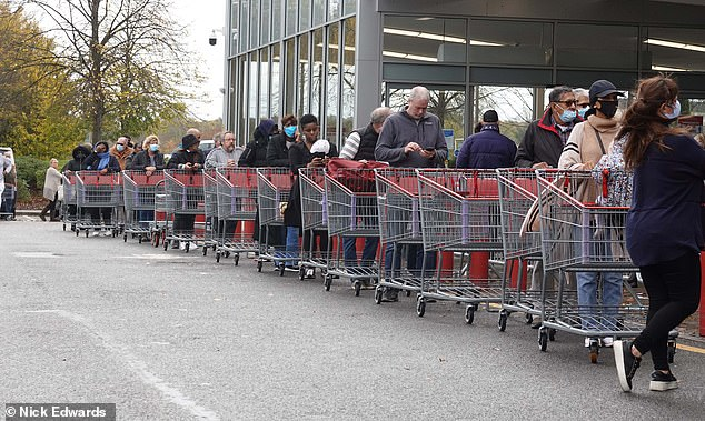 Lines of shoppers outside Costco in Croydon patiently waited to get inside the bulk buy store