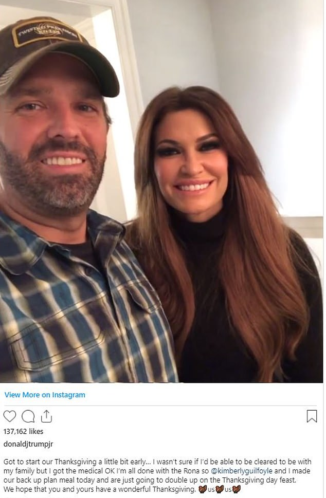 In an Instagram video, he posed with girlfriend Kimberly Guilfoyle and their Thanksgiving spread and told fans: 'I got cleared, happy to be healthy and we get to spend Thanksgiving the way it's mean to to be.