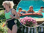 Emma Corrin's Princess Diana dons a swimsuit as she splashes in the pool