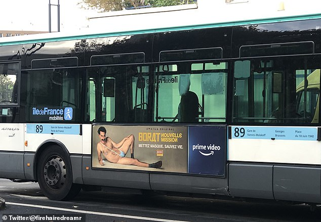 French Muslims demand removal of Borat poster from buses as near-naked character wears 'Allah' ring