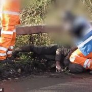 HS2 worker is filmed kneeling on the neck of a protester at the site in Fradley, Staffordshire