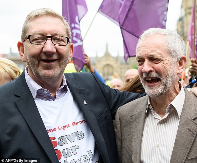 Unite union General Secretary Len McCluskey (left)described Jeremy Corbyn's (right) suspension as a 'grave injustice' but urged members angry about it to remain in the party