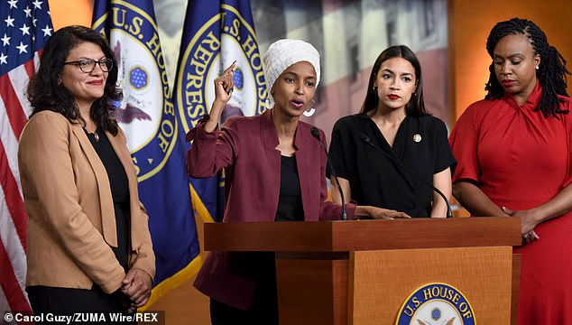 The Squad - four Democratic progressive members of Congress who have frequently been targeted for criticism by President Trump and his supporters - cruised to re-election on Tuesday night. From left: Rashida Tlaib, Ilhan Omar, Alexandria Ocasio-Cortez, and Ayanna Pressley