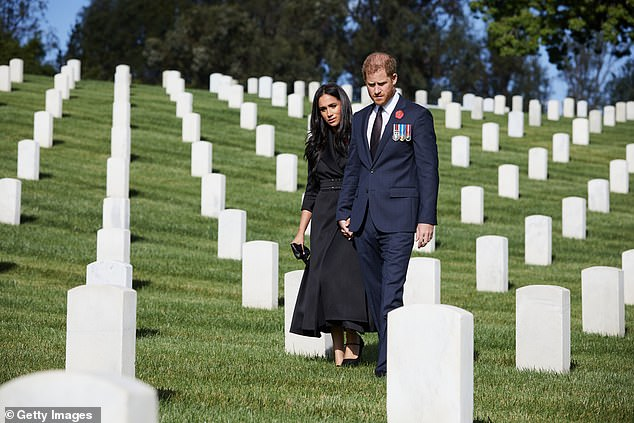 Every time I think that the Duke and Duchess of Sussex (pictured at Los Angeles National Cemetery) have gone too far, they go one terrible step farther