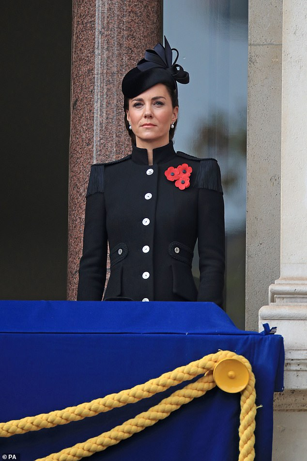 Kate Middleton cuts a sombre figure in Alexander McQueen coat as she attends Remembrance Sunday
