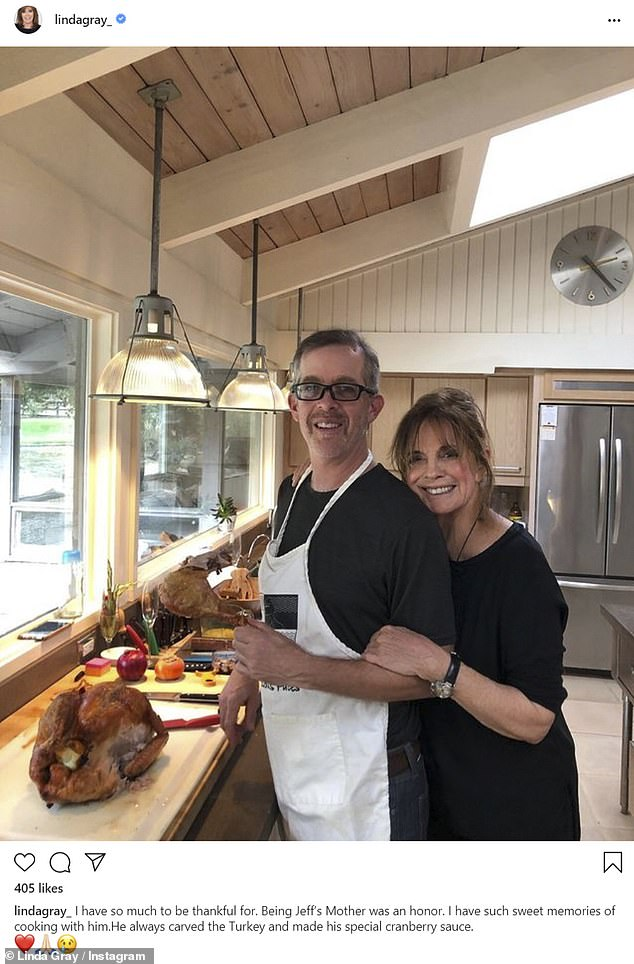 Linda Gray posts pic with late son Jeff Thrasher carving turkey on first Thanksgiving without him