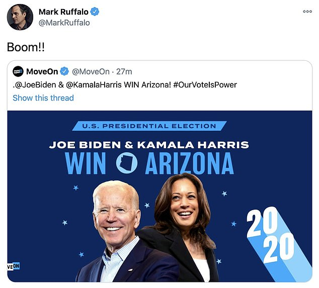 Mark Ruffalo, Alyssa Milano, Debra Messing react over Joe Biden edging forward to the White House