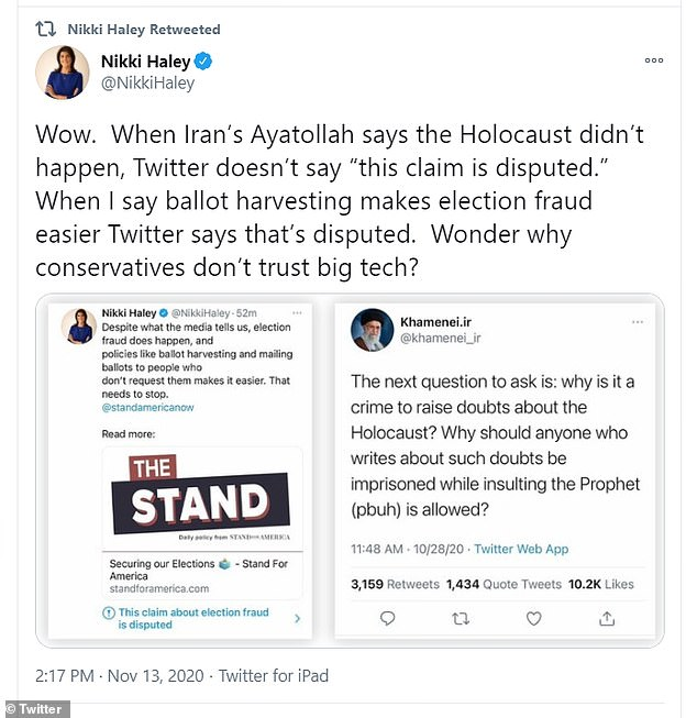 Nikki Haley hits Twitter for disputing her vote fraud tweet but not Iran leader's Holocaust 'doubts'