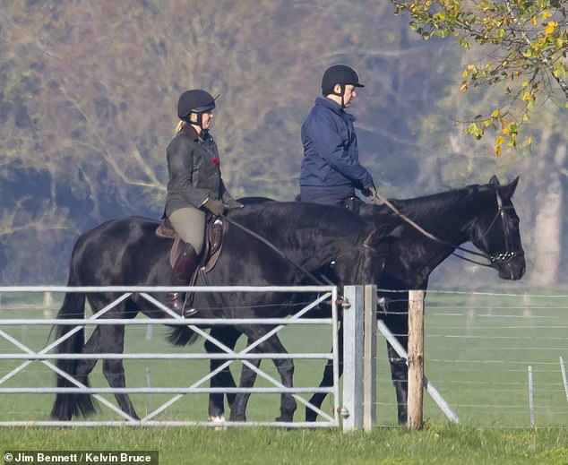 Prince Andrew is pictured horse riding at Windsor Castle where the Queen is self-isolating