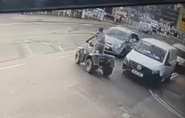 Quad bike rider is thrown across car windscreen in collision