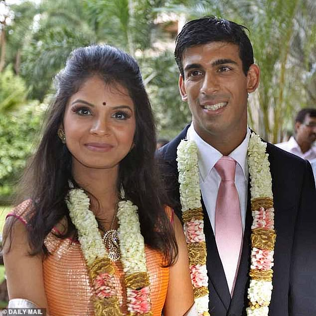 Chancellor Rishi Sunak's wife Akshata Murthy (pictured together at their wedding) has shares in her family's tech business worth £430million, making her richer than the Queen - according to the Sunday Times Rich List
