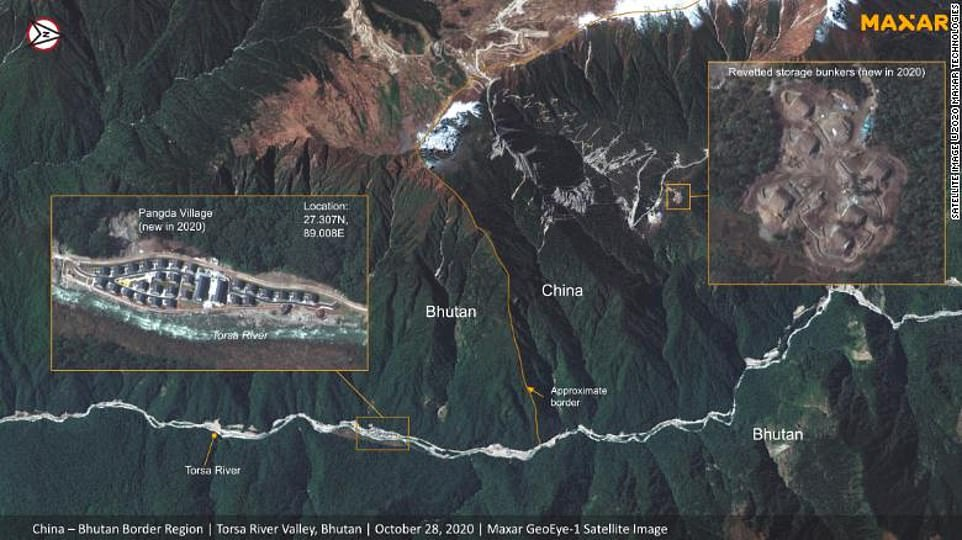 Satellite images show China has built a village in disputed Himalayan region