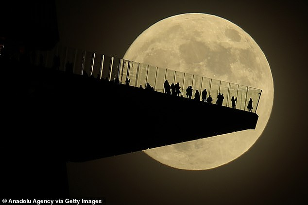 The full moon rises behind people standing on The Edge viewing platform in Manhattan