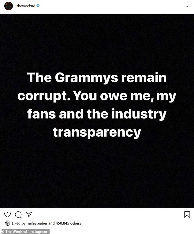 Speaking out: The Weeknd, 30, called the Grammys 'corrupt' after he was snubbed in the nominations announced Tuesday