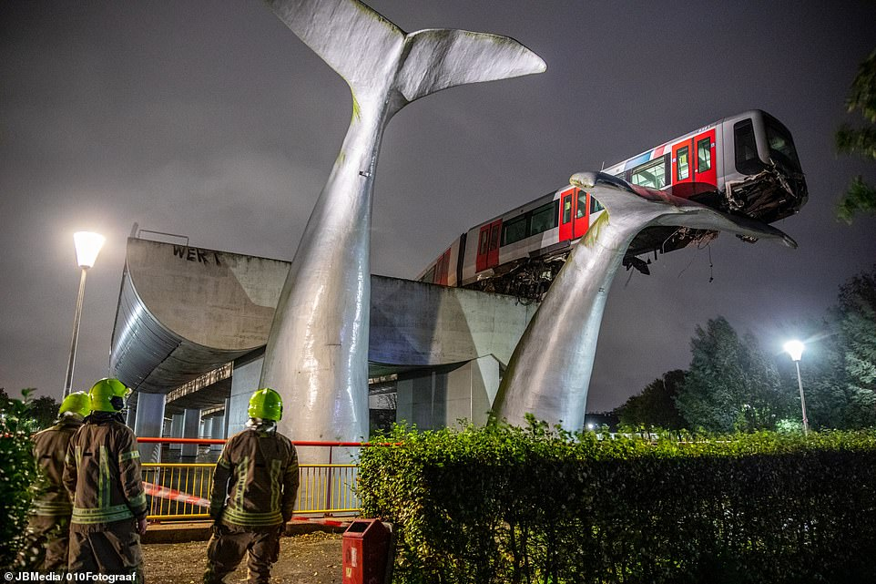 Train crashes through barrier at Dutch station – and lands on giant whale sculpture 25ft in the air