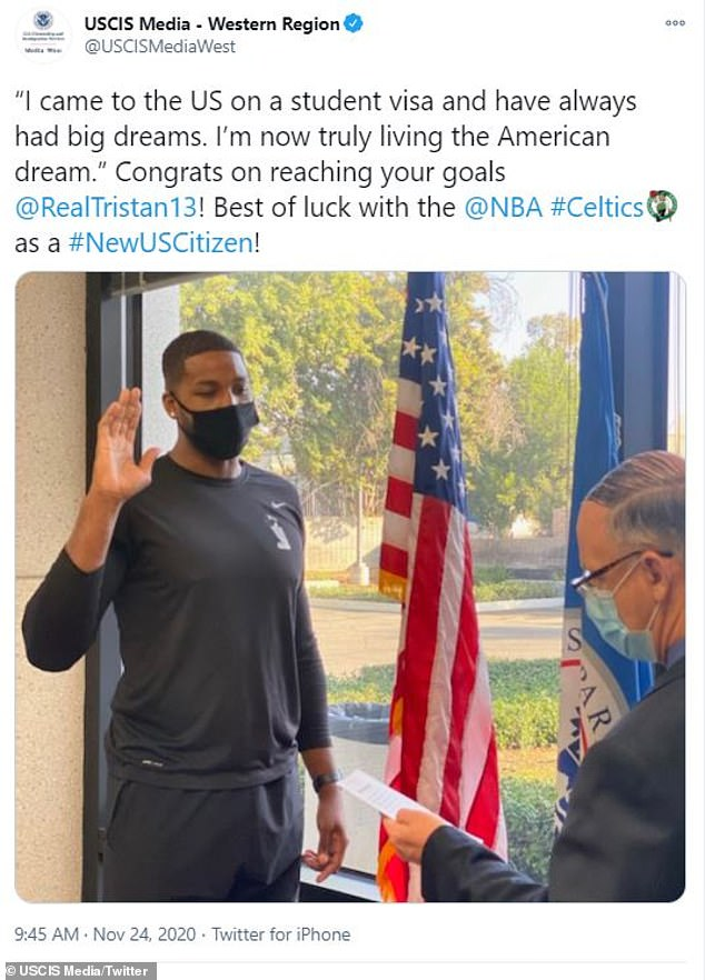 Tristan Thompson becomes a U.S. citizen… following his two-year deal with Boston Celtics