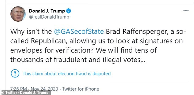 Trump says Brad Raffensperger isn't allowing his legal team to view signatures on mail-in ballots