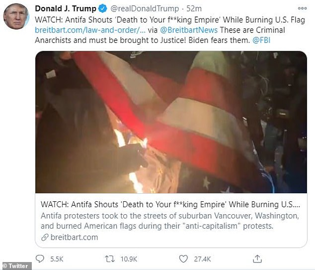 Trump slams 'criminal anarchists' from Antifa who were caught on video burning the US flag
