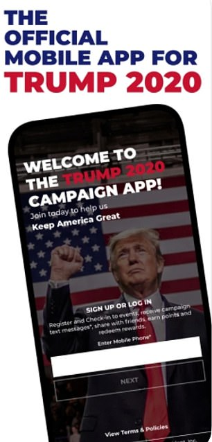 Trump's 2020 reelection campaign powered by cellphone app that collected data of 2.8million fans