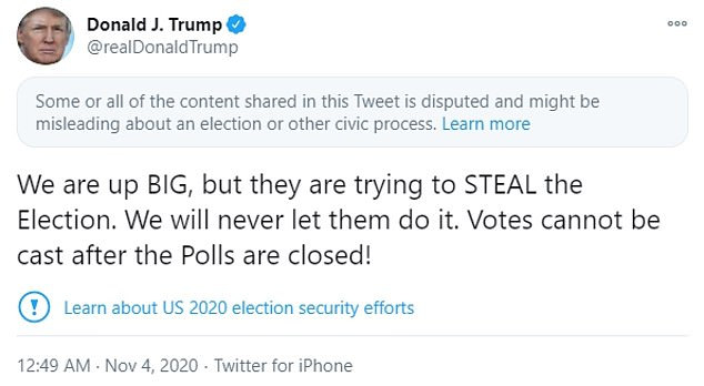 Twitter flags Trump tweet claiming Democrats are trying to 'steal' election
