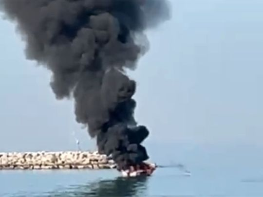 Watch: Boat explodes in the UAE as fishermen try to change battery