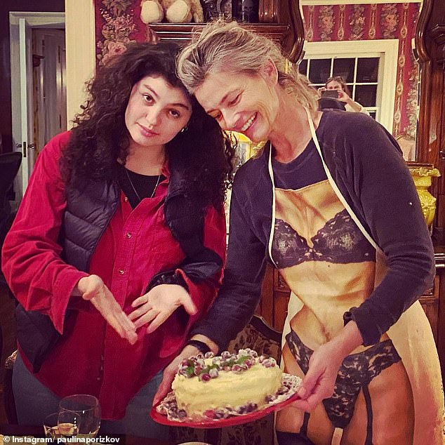 Happy day:Paulina celebrated Thanksgiving at her home in upstate New York with her sons and author Nicolaia Rips (pictured), with whom she is close friends