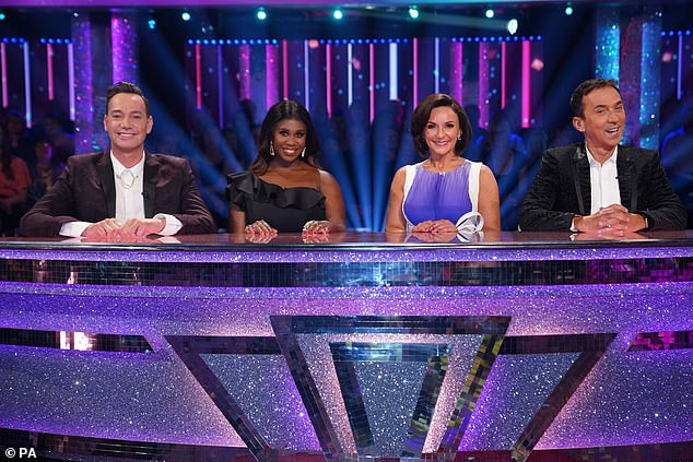 Coming soon: It is thought that fans will get to sit in the studios in groups of their household bubbles and stay socially distanced during the show (judges Craig Revel Horwood, Motsi Mabuse, Shirley Ballas and Bruno Tonioli pictured on last year's series)