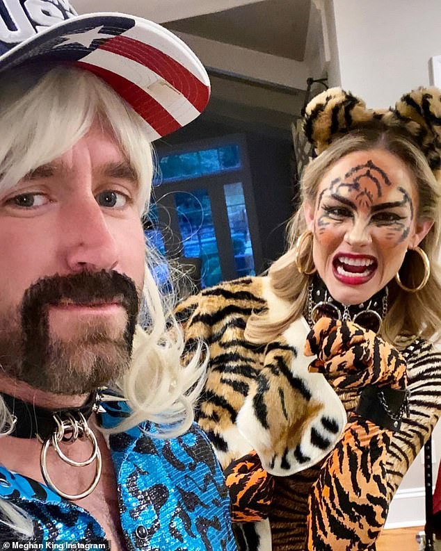 On Halloween: The blonde with as a tiger and her beau as Joe Exotic
