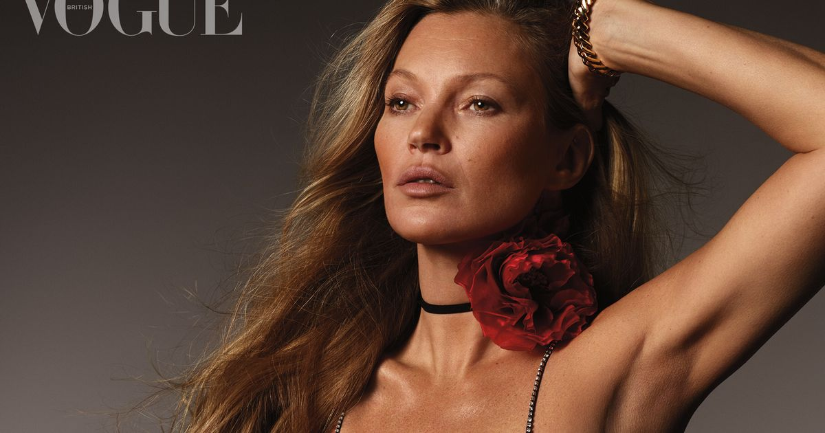 Kate Moss, 46, parades ageless beauty in plunging dress for stunning cover shoot