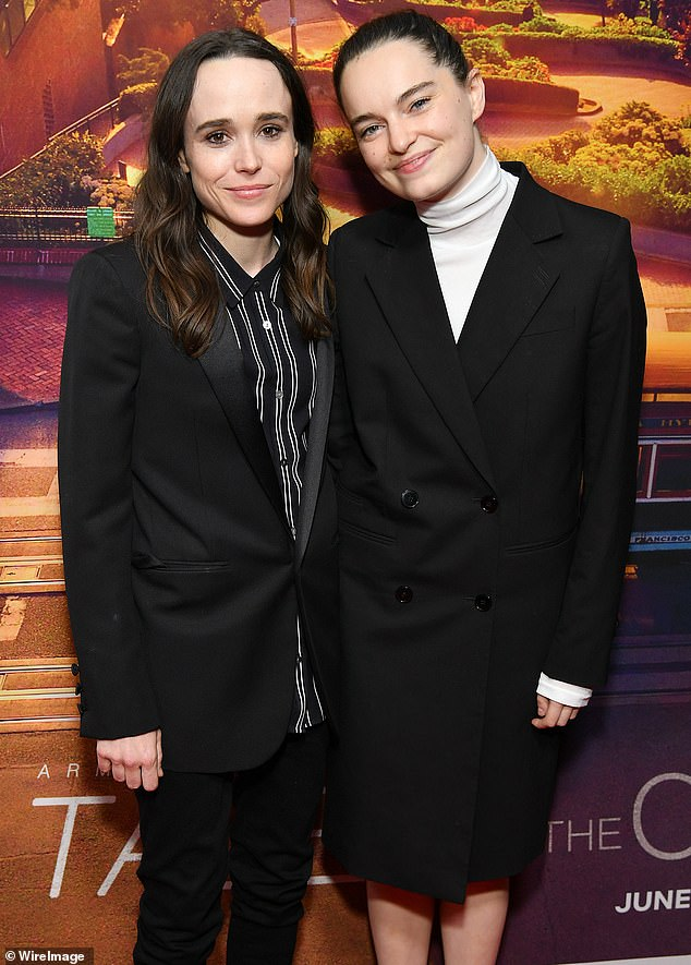 Opening up: The Juno star, previously known as Ellen Page, married dancer Emma Portner in 2018 (seen together in June 2019)