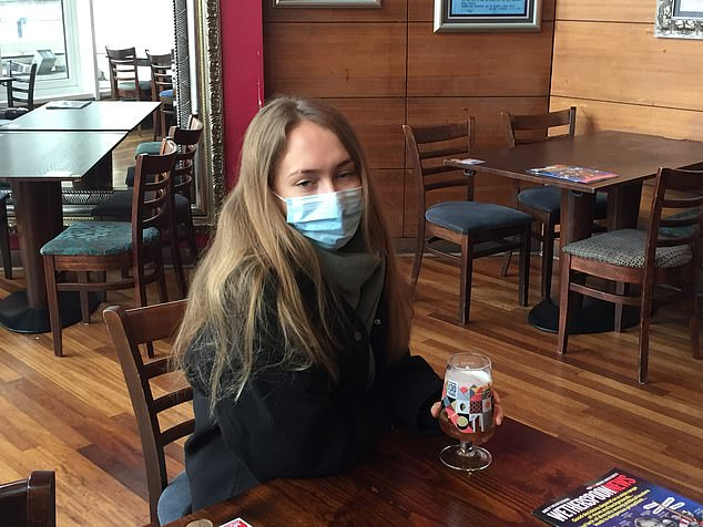 Sarah Mowatt, 26, was nursing a San Miguel after heading straight to the pub after hearing they had reopened