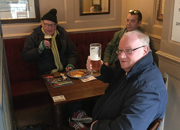Damian Brady, 66, was enjoying a drink at the Asparagus with his fellow regulars Steve Baker, 65, and their friend Sidney
