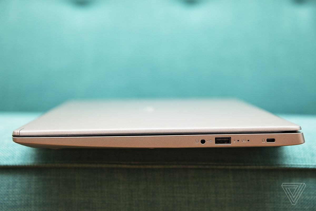 The Acer Aspire 5, closed, from the left side.