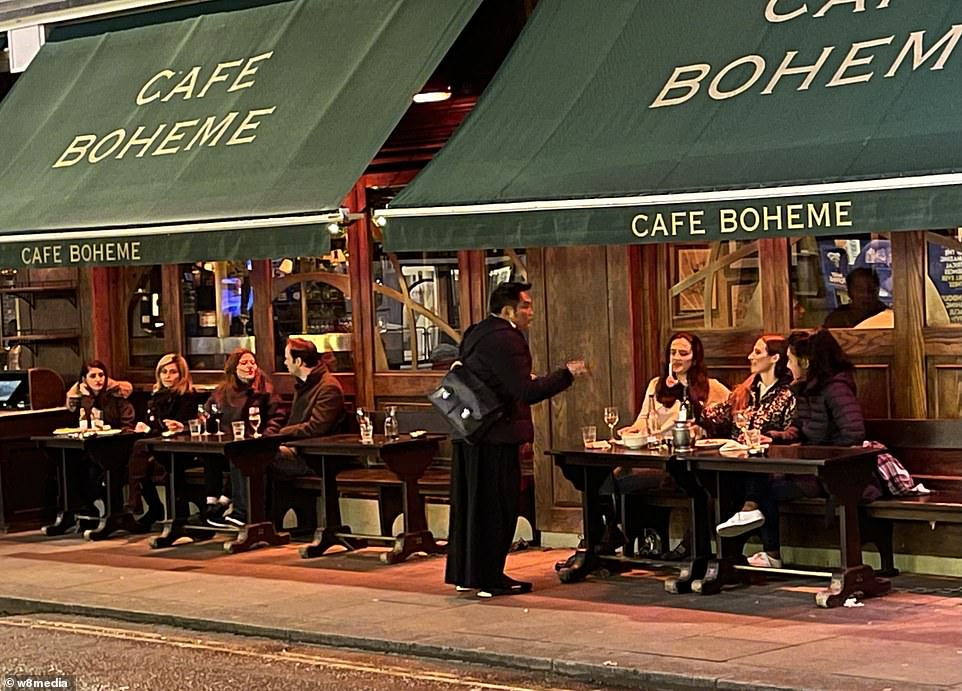 The ever-popular Cafe Boheme in Old Compton Street, London, Soho, had a packed outdoor area last night after lockdown was eased
