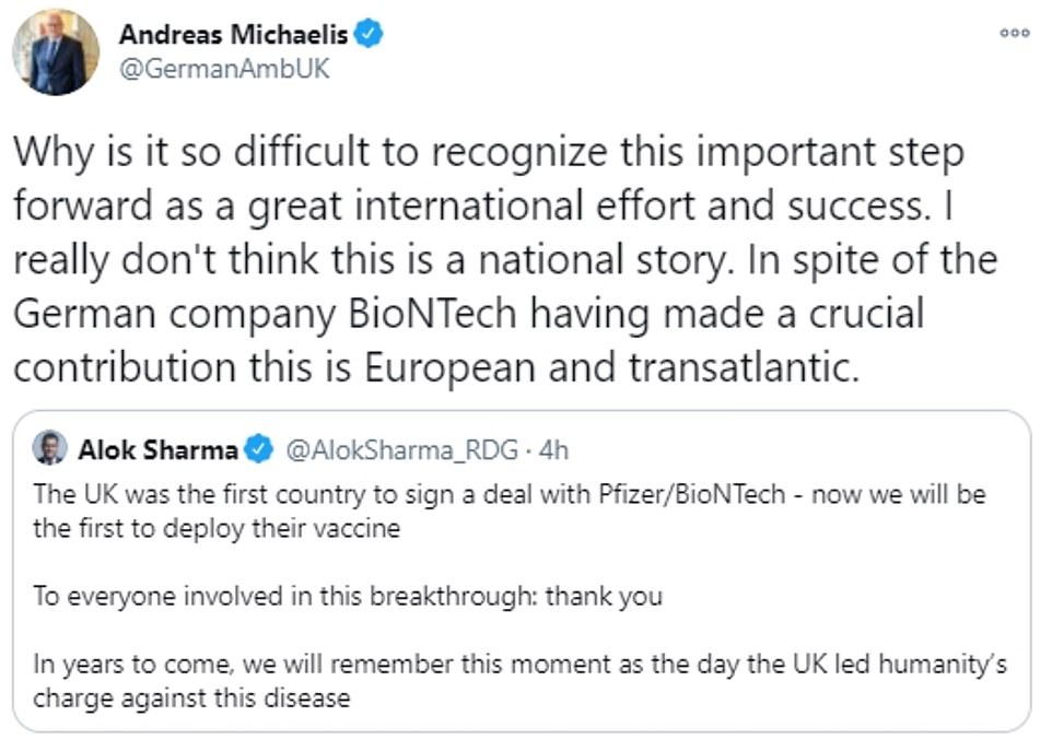 Berlin's ambassador to the UK issued a sharp retort after Business Secretary Alok Sharma said history would remember the 'UK led humanity's charge against this disease'