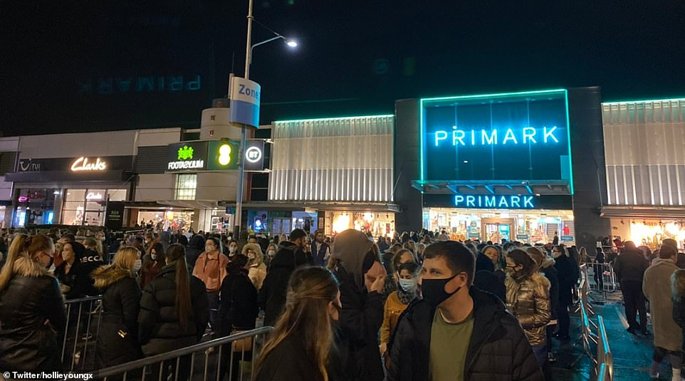 Hundreds of shoppers were seen queuing outside Primark in Fort Park Shopping Centre in Birmingham after the national lockdown ended