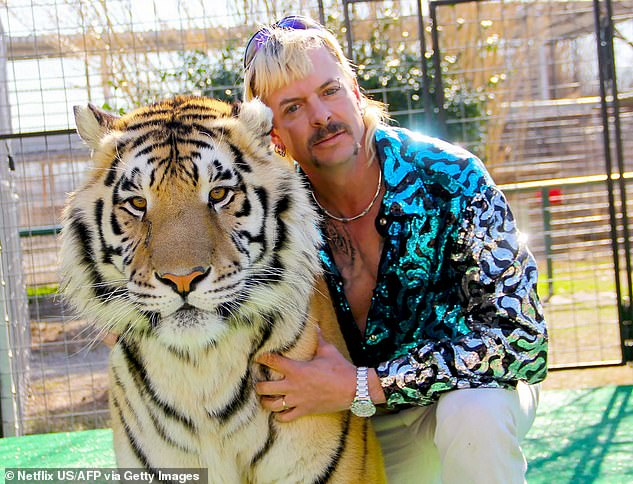 Baskin, 59, was thrust into the limelight when she featured in the 2020 Netflix documentary 'Tiger King' with Joe Exotic (pictured)