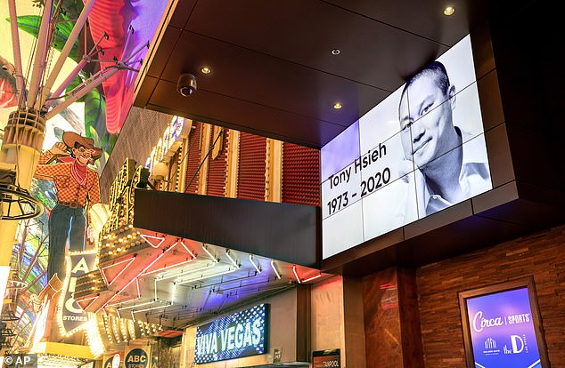 Pictured:An image of former Zappos.com CEO Tony Hsieh is displayed outside the Golden Gate hotel-casino in downtown Las Vegas on November 28