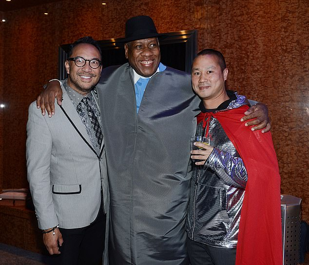 Vanity Fair once called called Hsieh'the consummate partier' who often took shots of Grey Goose 'just because.' Hsieh (right) is pictured with Joey Galon (left) and Andre Leon Talley (center) at the Zappos Couture celebration of 20 years of fashion gallery & auction in support of Las Vegas in 2014