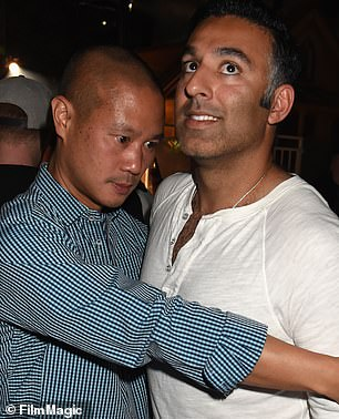 Hsieh is pictured with Founder of Life is Beautifyl Rehan Choudhry at the 2014 pre-party for Life is Beautiful festival