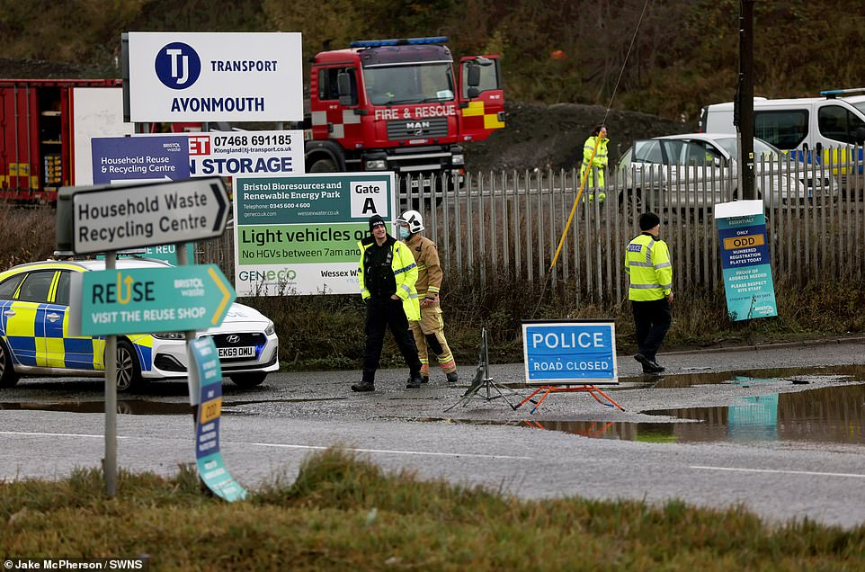 Police have closed the road leading up to the scene - an industrial area on the outskirts of Bristol